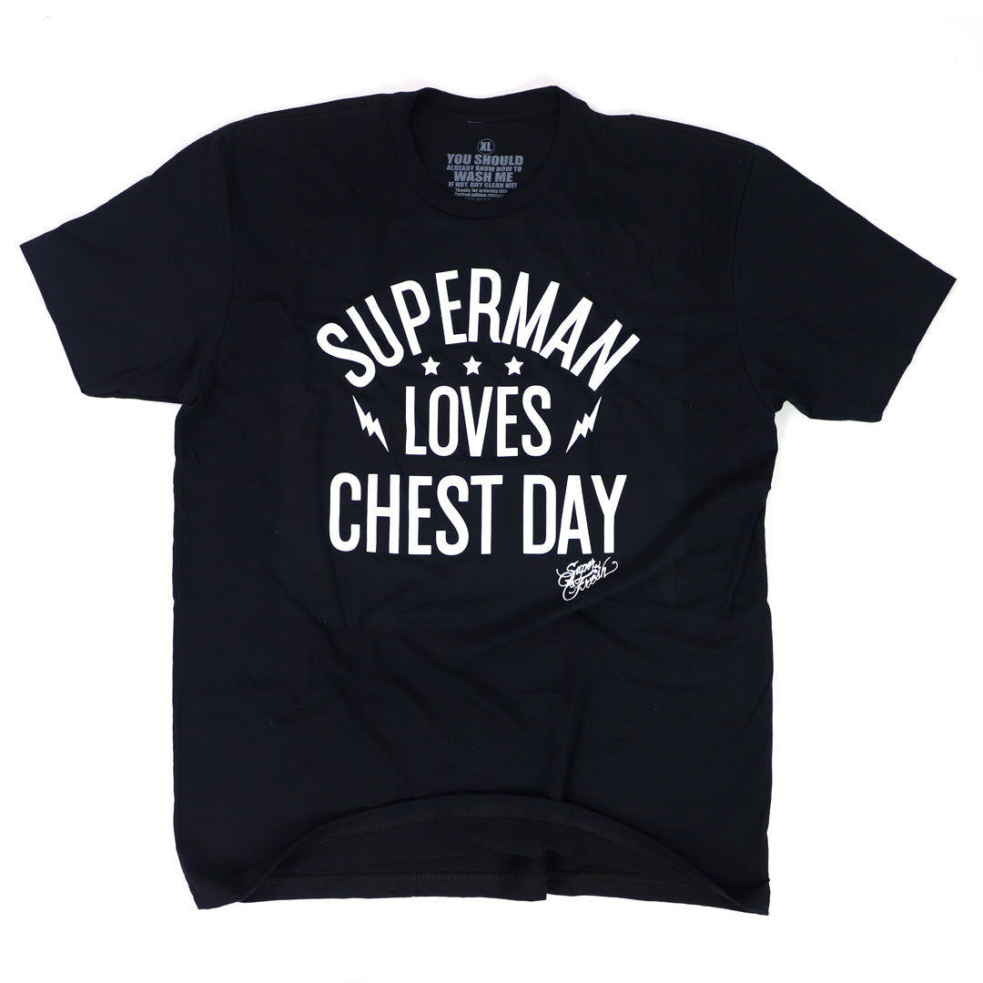 Superman Loves Chest Day<br> [Tee]<br> (Black)