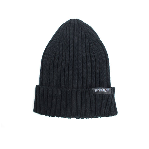 Ribbed Beanie<br> (black)<br> (medium/large)