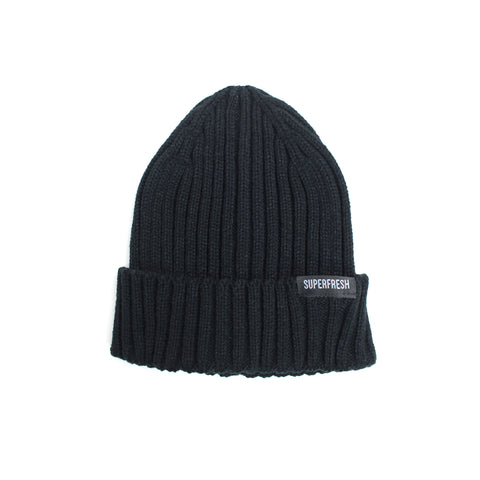 Ribbed Beanie<br> (Black)<br> (Small/Medium)