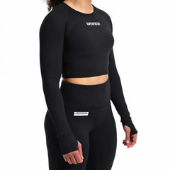 The Luxury Long Sleeve Crop<br> (Black)