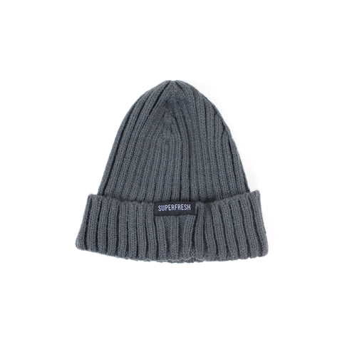 Ribbed Beanie<br>(slate grey)