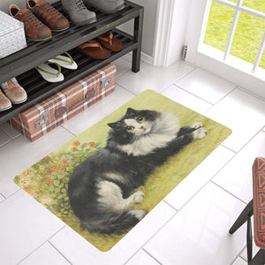"Black & White Kitty Door Mat 30"" x 18"""