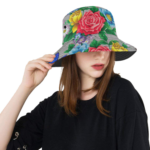 Colorful Butterflies and Flowers Bucket Hat