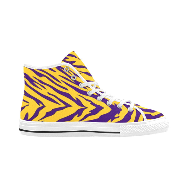 Purple and Gold Tiger Striped Men's High-Tops