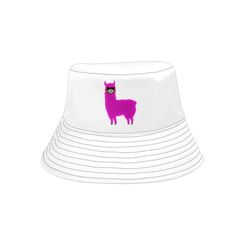 Llama Security White Printed Bucket Hat