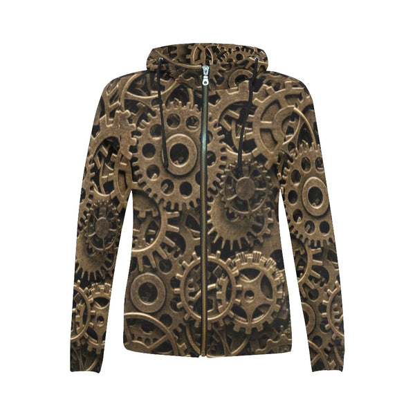 Steampunk Gears Zip-up Woman's Hoodie
