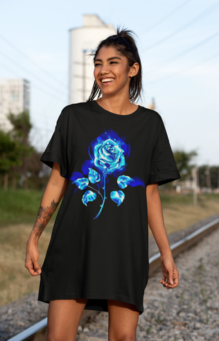 Blue Fire Rose Organic Cotton T-shirt Dress