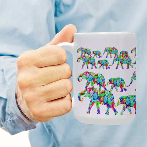 Colorful Elephants 15 Oz Ceramic Mug Ceramic Mug (15 OZ) (Made In USA)