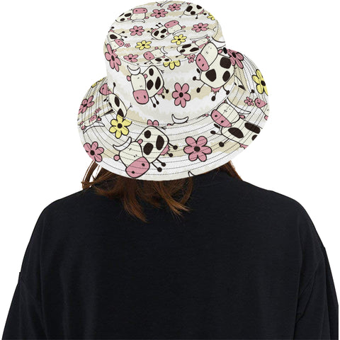 Cute Cows and Flowers Bucket Hat