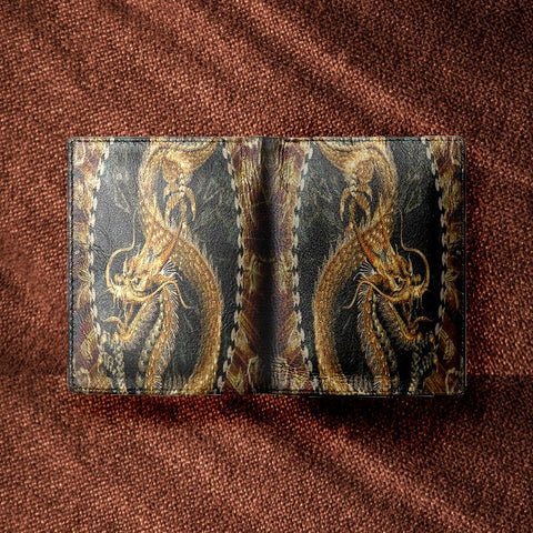 Dragon Emblazoned Men's Leather Wallet