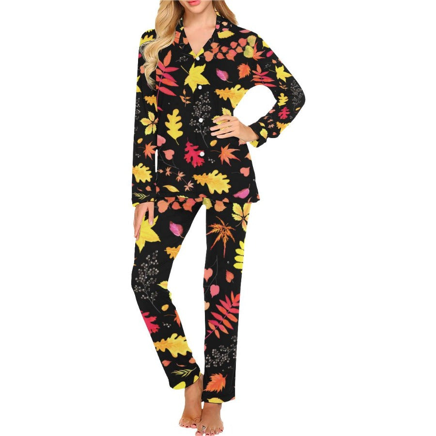 Autumn Leaves Women's Long Pajama Set
