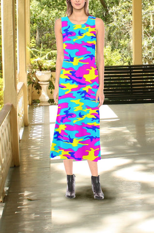 Neon Camo Sleeveless Open Fork Long Dress
