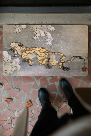 "Old Tiger by Hokusai Rubber Doormat 30"" x 18"" (Made in USA)"