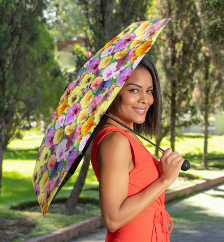 Pretty Pansies Automatic Foldable Umbrella