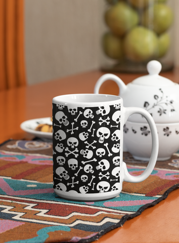 Skulls and Crossbones 15 Oz Ceramic Mug Ceramic Mug (Made In USA)