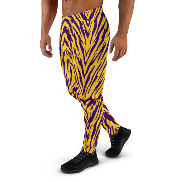 Purple and Gold Tiger Striped Men's Joggers
