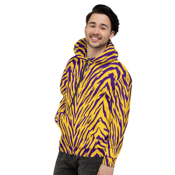 Purple and Gold Tiger Stripe Unisex Hoodie