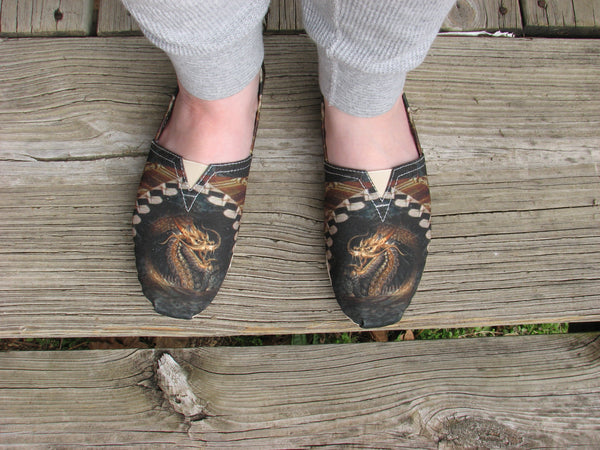 Dragon Emblazoned Slip On Shoes