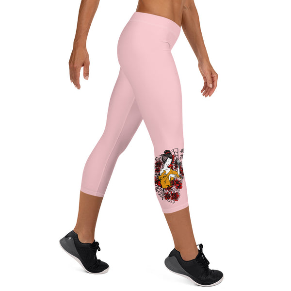 Beautiful Flower Geisha Print Capri Leggings