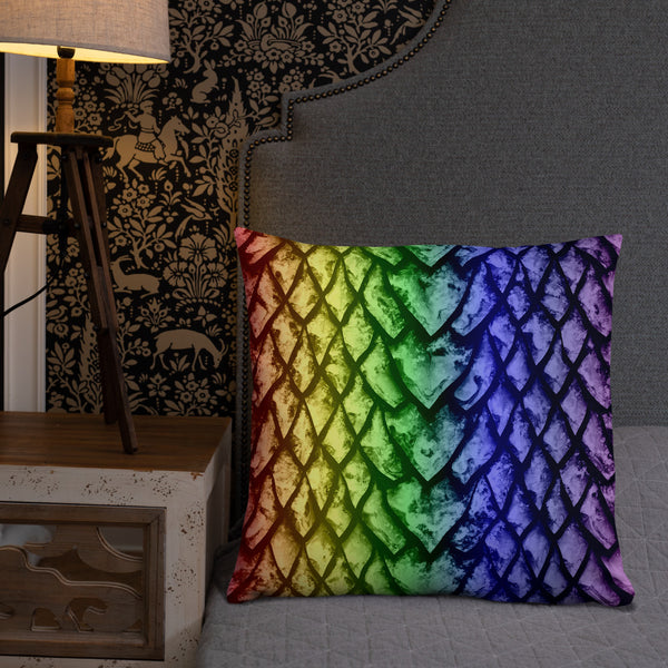 Rainbow Dragon Scale Pillow
