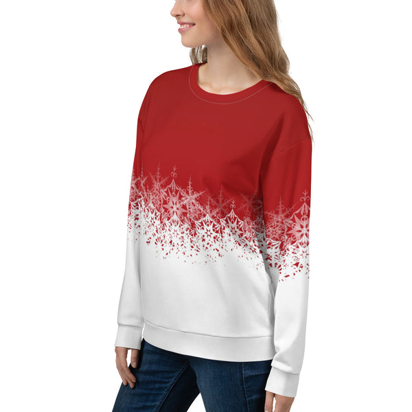 Festive Red and White Unisex Sweatshirt