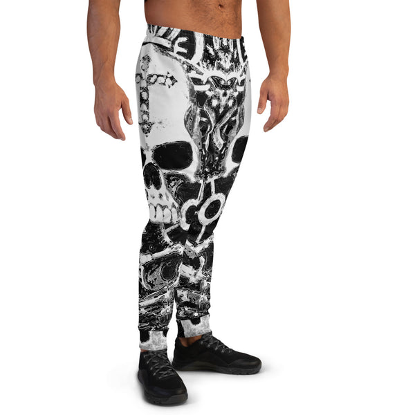 Men's Black & White Steampunk Skull Joggers