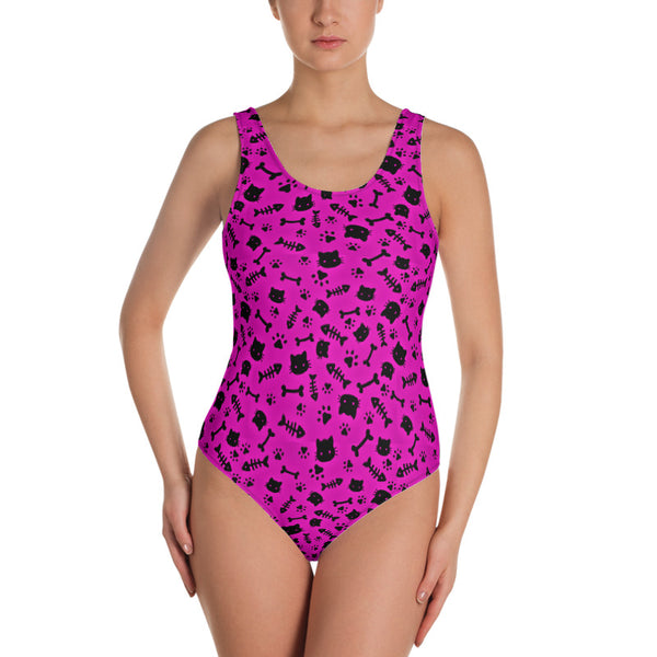 Cats and Bones Pink One-Piece Swimsuit