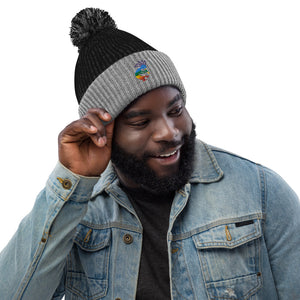 Colorful Kokopelli Embroidered Pom-Pom Beanie