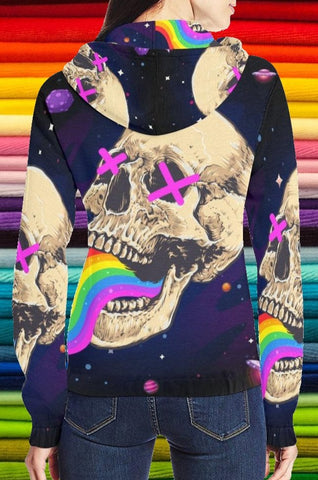 Chaotic Space Skull Zip-up Woman's Hoodie