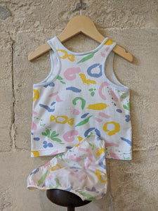 Baby Kids 80s Pastel Abstract Print Vest Bottoms