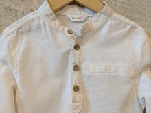 Load image into Gallery viewer, Super White Linen Grandad Collar Shirt 4 Years