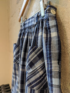 Beautiful Blue Plaid French Vintage Seersucker Skirt - 8 Years