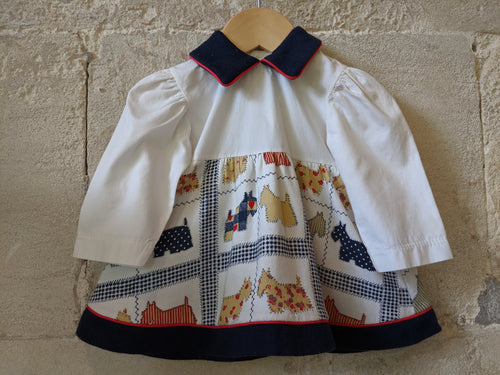 Vintage French Baby Dress Scotty Dog Fabric 3 Months