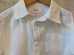 Beautiful White Linen Kids Preloved Shirt Classic Designer French Brand CFK Sale 4 Years