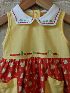 Red & Yellow Baby Preloved Dress Vintage
