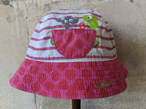 DPAM Preloved Baby Sun Hat Pink Stripes Tortoise
