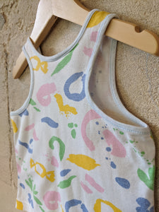 Retro Abstract Pastel Print Fabric Baby Vest