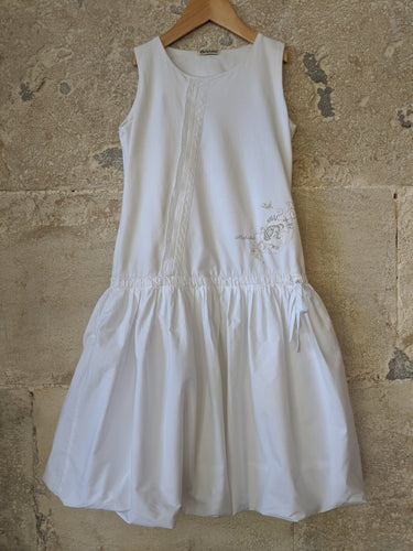 White French Dropped Waist Summer Dress Floaty Girls Lace Balloon Drress 8 Years