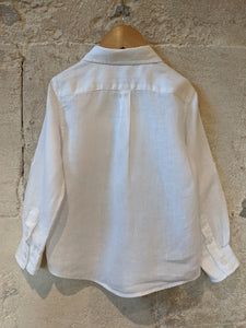 Beautiful White Linen French Preloved Kids Shirt Summer Light Smart Designer Linen Shirt 3-4 Years