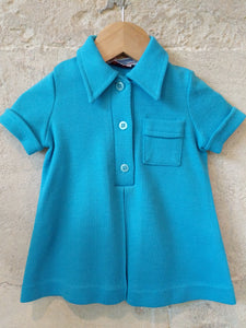 French 70s Bright Blue A-Line Shirt 12 Months