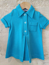 Load image into Gallery viewer, French 70s Bright Blue A-Line Shirt 12 Months