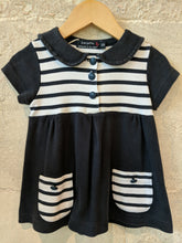 Load image into Gallery viewer, Breton Striped Soft Cotton Designer Dress Age 2