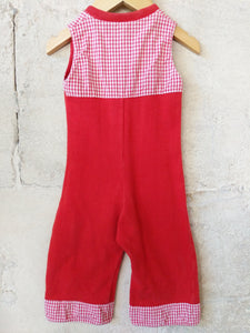 Fabulous French Vintage Red Retro Dungarees 6 Months