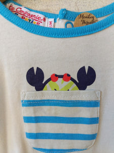 NEW Cute Crab Blue Striped Cotton Shorts & Top Set - 6 Months