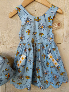 Little Bee Sky Blue Summer Dress & Matching Hat 6 Months