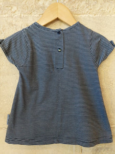 French Striped A-Line Cotton Dress - 3 Months