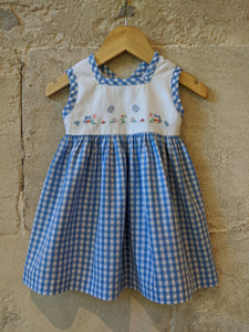 Designer Brand Jacadi Baby Blue Checked Dress 6 Months