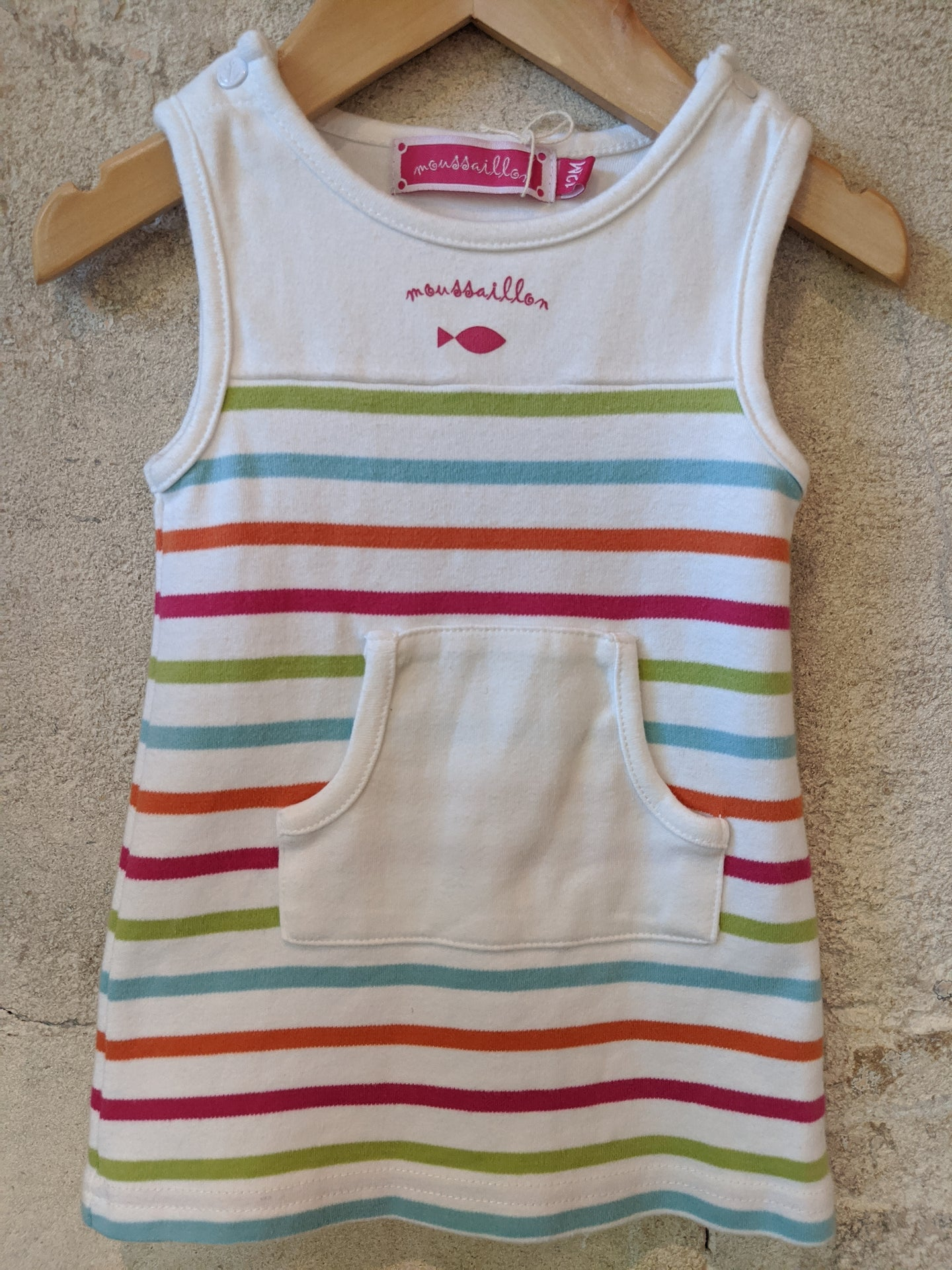 Moussaillon Breton Striped Soft Cotton Dress with Kangaroo Pocket 6 Months