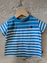 Load image into Gallery viewer, Bright & Cheerful Blue Striped T Shirt - 12 Months