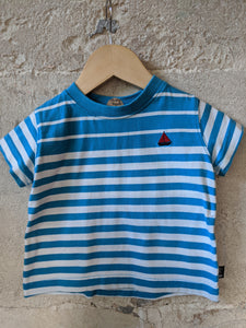 Bright & Cheerful Blue Striped T Shirt - 12 Months